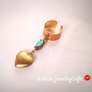 Tiny Heart Locket Antique Gem Ear Cuff Adjustable